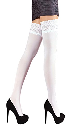 Lace Top Opaque (THIGH HIGH Opaque Lace Top Silicone Stockings Nylon Hosiery 40 Den S - XL)