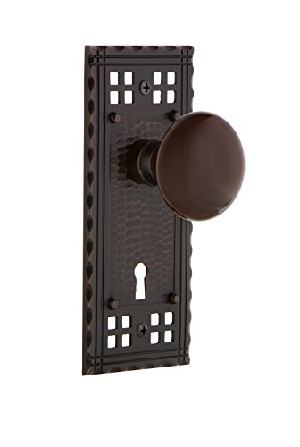 "nostalgic warehouse crabrn_mrt_214_kh brown porcelain solid brass skeleton keyed entry mortise handleset with craftsman rose, keyhole and 2-1/4"" backset"