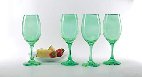 Green Wine Glasses (Circleware 44836 Uptown Wine Glasses, Set of 4 All-Purpose Elegant Entertainment Party Beverage Glassware Drinking Cups for Water, Juice, Beer, Liquor, Whiskey and Bar Dining Decor, 13 oz,)
