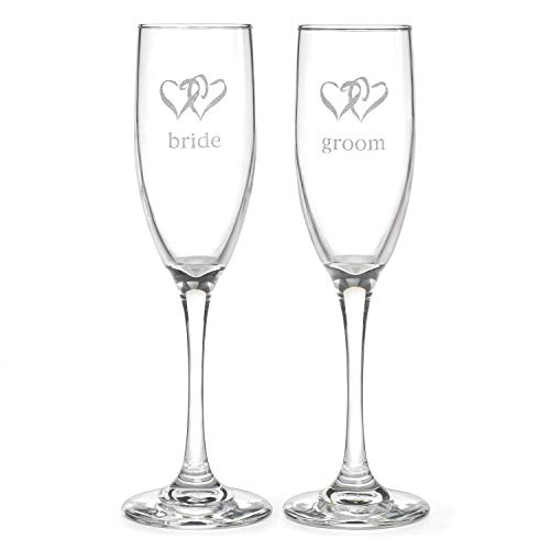 Hortense B. Hewitt Wedding Accessories Linked Heart Bride and Groom Champagne Toasting Flutes, Set Of 2 - Groom Design Toasting Flutes