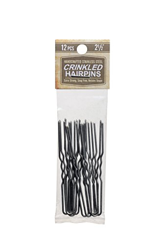 Crinkled Stainless Steel Heavy Duty Snagless Hairpins Pack of 12 SILVER Handmade Hair Pin (2 1/2 Inch)