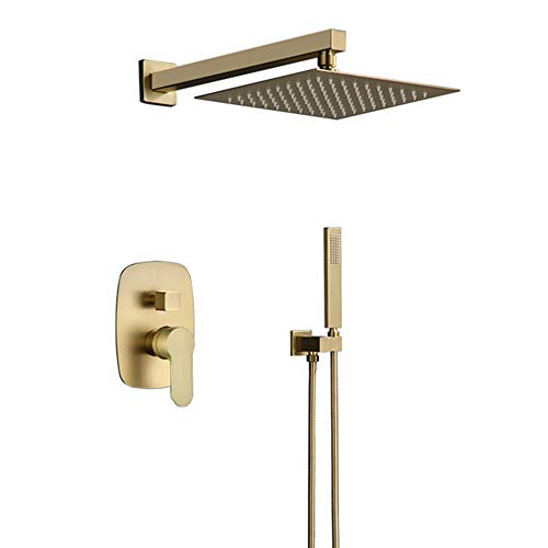 Bilu-hose Bathroom Luxury Brass Brushed Gold 10 Inch Wall Mount Rainfall Shower System Mixer Set