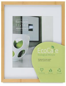 CONTEMPORARY Bamboo Natural-stain matted 11x14/8x10 frame by EcoCare - 8x10 ()