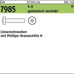 H M4x25 200 Kreuzschlitz Linsenschrauben DIN 7985 4.8 verzinkt
