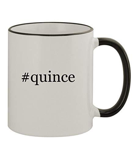 #quince - 11oz Hashtag Colored Rim & Handle Sturdy Ceramic Coffee Cup Mug, Black