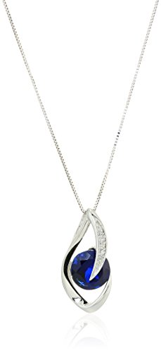 10k White Gold Created Blue Sapphire and Diamond Accent Flame Pendant Necklace, 18