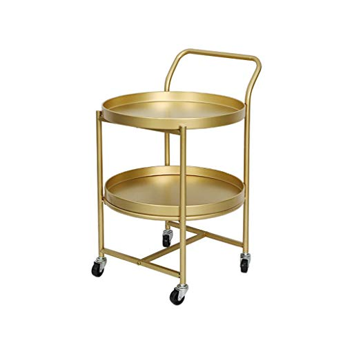 L-Life End Tables Side Table Wrought Iron 2 Tier Storage Small Round Cart Coffee Table with Wheels, Movable Household Reading Table Salon Sofa Table