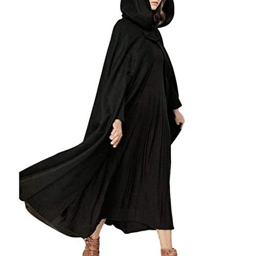 Invierno Gabardina Schwarz Mujer Con Retro Maxi Estola De Adelina Outwear Umfang Largos Hoodies Abrigos Poncho Warmer 5nSZqF