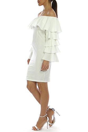 Lady Bling Bling Damenkleid Abendkleid Ballkleid Cocktailkleid Partykleid Sommerkleid Minikleid Weiß 4cyGKXUC