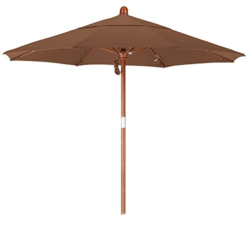 California Umbrella 7.5' Round Hardwood Pole Fiberglass Rib Market Umbrella, Stainless Steel Hardware, Pulley Lift, Sunbrella (Round Wood Canopy)