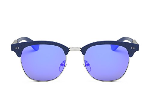 Weidan retro half frame carved polarized sunglasses men and women brand driving sunglasses 662 (Blue frame / dark blue lenses, - Top Men Ten Brands Sunglasses For