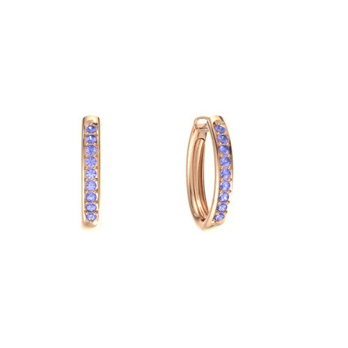 14K Rose Gold Earrings with Tanzanite â€