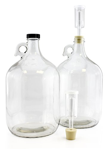 Home Brew Wine Fermenters w/ Rubber Stoppers & Airlocks (2-Pack); Gallon-Size Carboys Complete Set of Two