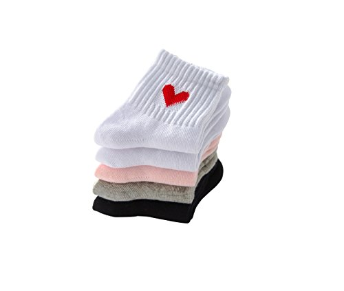PenGreat Kids Toddler Big Little Girls Fashion Cotton Crew Love Pattern Socks 5 Pairs by PenGreat (Image #3)