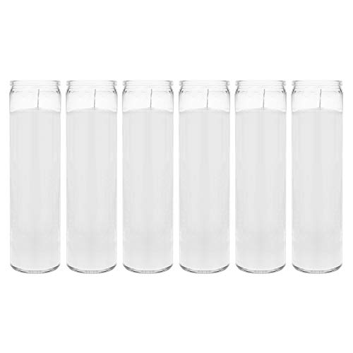 Mega Candles 6 pcs Unscented White 7 Day Devotional Prayer Glass Container Candle | Premium Wax Candles 2