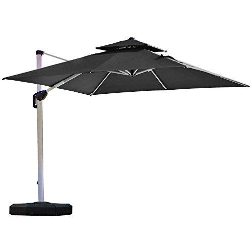 PURPLE LEAF 11 Feet Double Top Deluxe Square Patio Umbrella Offset Hanging Umbrella Outdoor Market Umbrella Garden Umbrella, Black