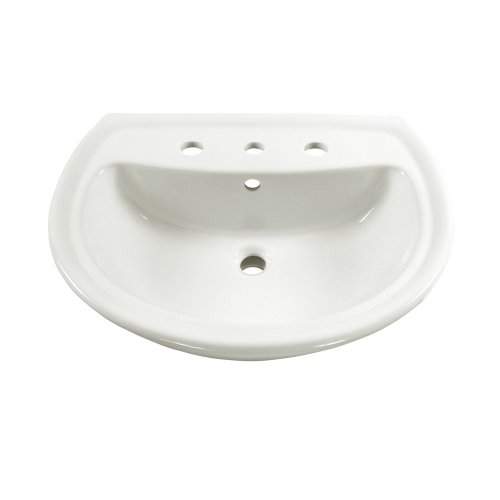 American Standard 0236.008.020 Cadet Pedestal Sink Basin with 8-Inch Faucet Spacing, White