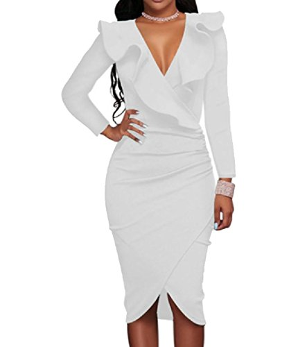 Luxury Comfy White Party Out Cut Pure Evening Dress Neck Ruffled V Color Women nxqTHw81xR
