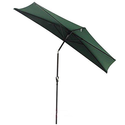 10 Foot Green Half Umbrella w/ Off the Wall Tilt Patio