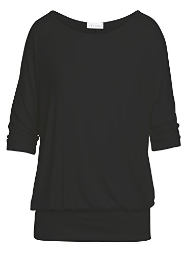 Sleeve Boatneck (Oversized Dolman Tops For Women Bottom Banded Half Sleeve Made In USA Small Black)