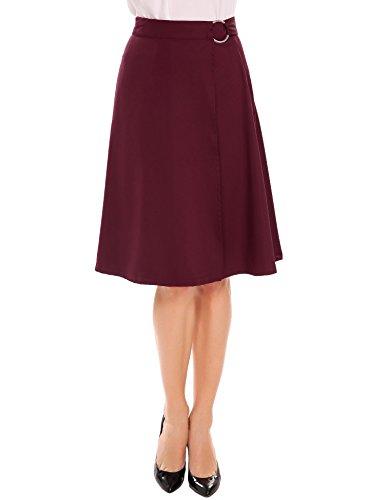 Haute Line Uni Genou Taille Femme Avec Meaneor Au Vineux Jupe Trapze A vase Rouge Ceinture wUxzqTt