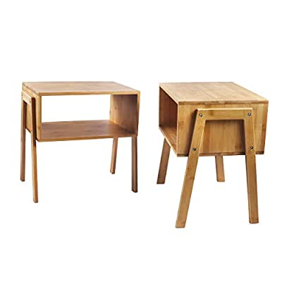 LASUAVY Bamboo Nightstand Stackable Side Table End Table Bedside Table, Set of 2