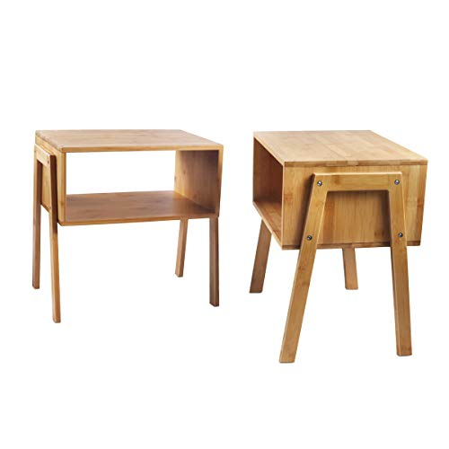 LASUAVY Bamboo Nightstand Stackable Side Table End Table Bedside Table, Set of 2 (16.911.4) (Bedside Wood Table)