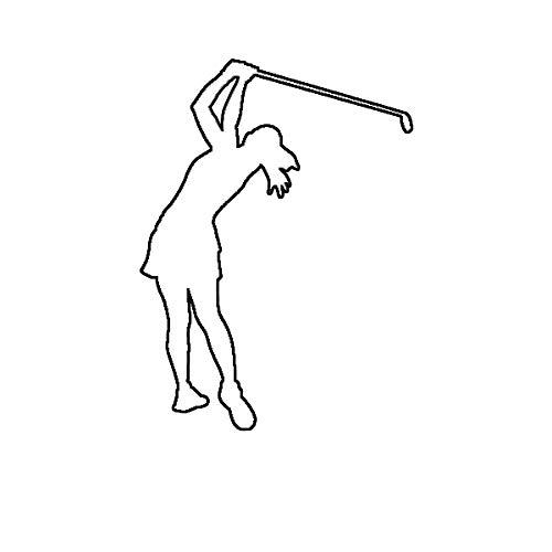 (Morgan Graphics Female Golfer Sticker Die Cut Decal Woman Girl Golf Vinyl Decal Sticker Car Waterproof Car Decal Bumper Sticker)