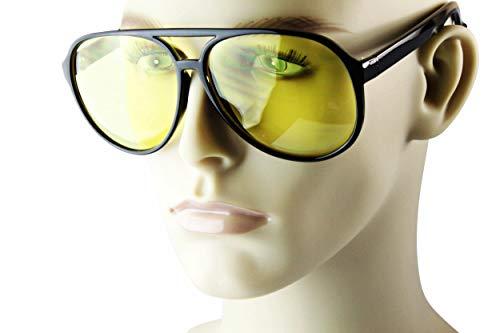 - A21bb Style Vault Plastic Vintage Retro Turbo Aviator Glasses Sunglasses (Black-yellow driving lens, UV400)
