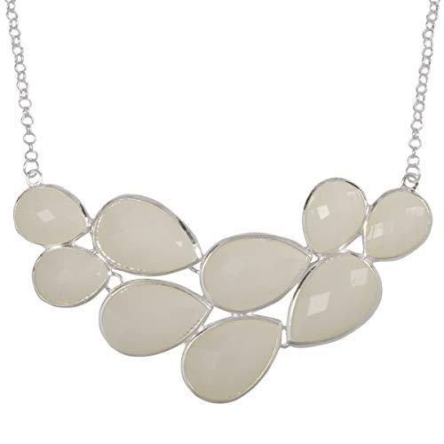 JANE STONE Silver Color Bubble Bib Necklace Fancy Chunky Necklace Fashion Jewelry Statement Necklace Evening Party - Chunky Necklace Stone