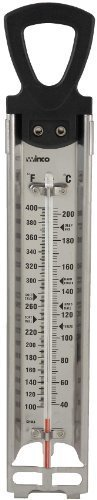 Winco Deep Fry/Candy Thermometer with Hanging Ring, 2-Inch by 11-3/4-Inch, Set of 3 by Winco