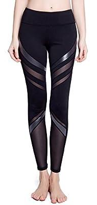 SPECIALMAGIC Women's Active Tummy Control Mesh Stripe Workout Yoga Pants Sports Leggings