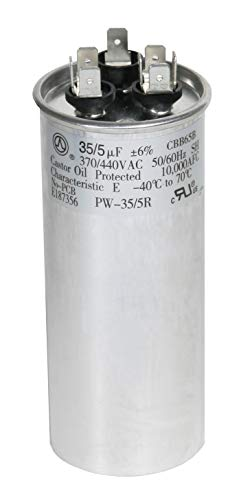 PowerWell 35 + 5 MFD uf 370 VAC or 440 Volt Dual Run Round Capacitor PW-35/5/R for Condenser Straight Cool or Heat Pump Air Conditioner 35/5 Micro Farad - Guaranteed to Last 5 Years