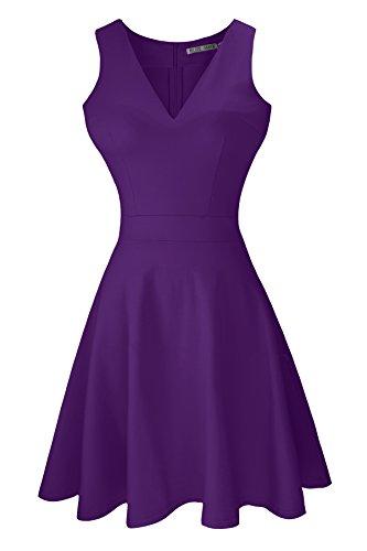 Héloïse de Sy Women's A-Line Sleeveless V-Neck Pleated Little Purple Cocktail Party Dress (XXL, (Teen Christmas Dress)