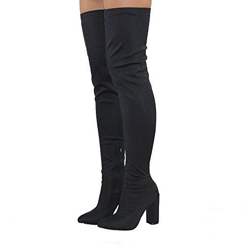 Black Stretch Thigh High Boots (Essex Glam Women's Black Lycra Thigh High Round Heel Stretch Long Leg Boots 8 B(M) US)