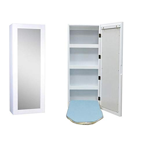 Jcnfa-Shelves Wall-Mounted 3-Layer Storage Folding Ironing Board Cabinet Rectangular Mirror Storage Built-in Ironing Board with Hook (Color : White, Size : 13.976.9237.40in)