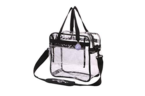 Clear Crossbody Messenger Tote Bag - STADIUM Approved Transparent Plastic Purse for NFL Travel, Women Makeup, Lunch, Laptop, Beach Gym|DETACHABLE Shoulder Strap|ZIPPER Pouch&KEYRING-Pockets ALL sides!