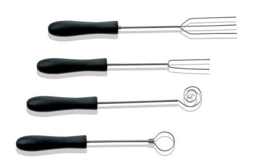 (Paderno World Cuisine Set of 4 Inch Chocolate Dipping Forks Made of Steel and Plastic)