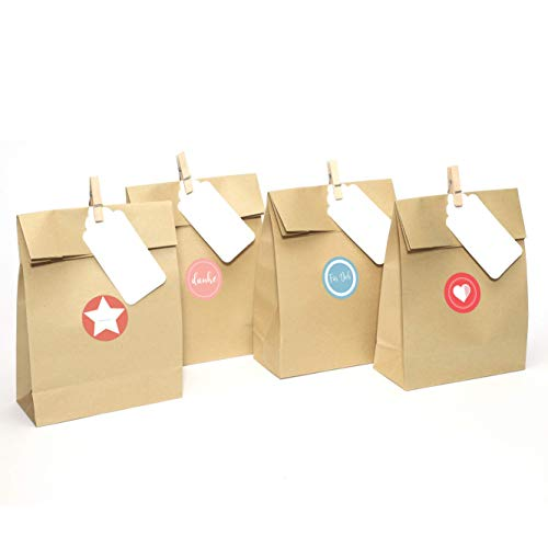 5da2016ab Casparo Eco Design 24 Beautifully patterned Advent bags made kraft paper  with stickers   Paper bags ideal for DIY Advent calendar   Gift bag for  birthday, ...