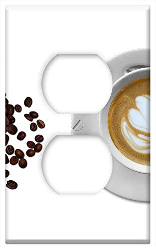 (Switch Plate Outlet Cover - Coffee Cup And Saucer Black Coffee Tea Spoon)