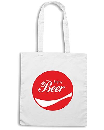 ENJOY Borsa BEER Shopper ENJOY0018 Bianca qxOTZH