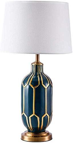 Znddnb American Retro Keramik Metall Gold Blau Tischlampe Wohnzimmer Schlafzimmer Nachttisch Hotel Weiss Stoff Lampenschirm Tischlampe 35x35x65cm Weich Amazon De Kuche Haushalt