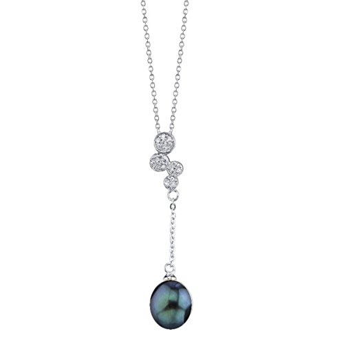 THE PEARL SOURCE 8-9mm Genuine Black Freshwater Cultured Pearl Cubic Zirconia Haley Pendant Necklace for Women