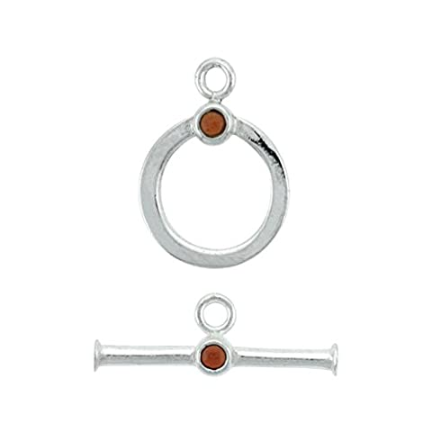Sterling Silver Garnet Toggle Clasp w/ Beads 17.5 mm Ring, 26 mm Bar 1 set - Garnet Set Brooch