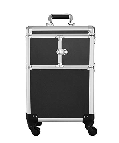 Makeup Train Case Box Beauty Trolley Storage Cosmetic Travel Rolling Organizer with 4 Removable Universal Wheels and 3 Folding Trays for Professional Artist (14.17×9.05×20.07 Inch,Black)