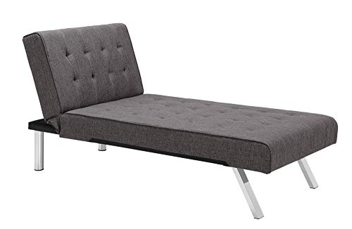 DHP Emily Linen Chaise Lounger, Stylish Design with Chrome Legs, ()