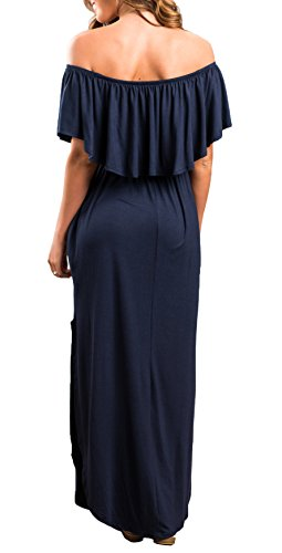 Womens Off The Shoulder Ruffle Party Dresses Side Split Beach Maxi Dress Navy M