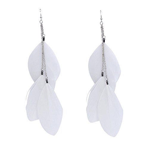 ABC Bohemian Handmade Vintage Feather Long Drop Earrings (White)