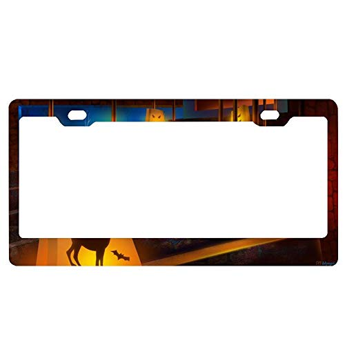 Halloween Decorated Stairs License Plate Frame Humor Funny,