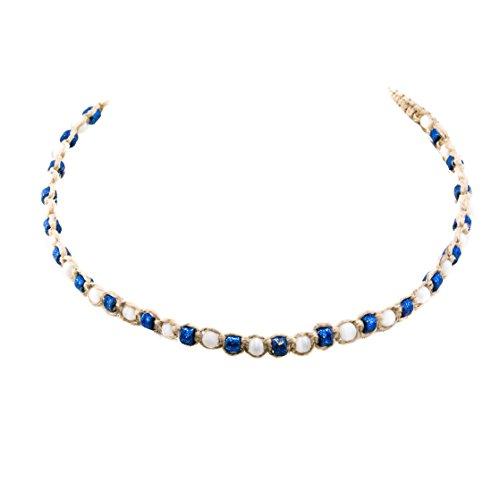 Cat Eye Necklace Choker (BlueRica Hemp Choker Necklace with White Cat's Eye & Blue Fimo Glitter Beads)